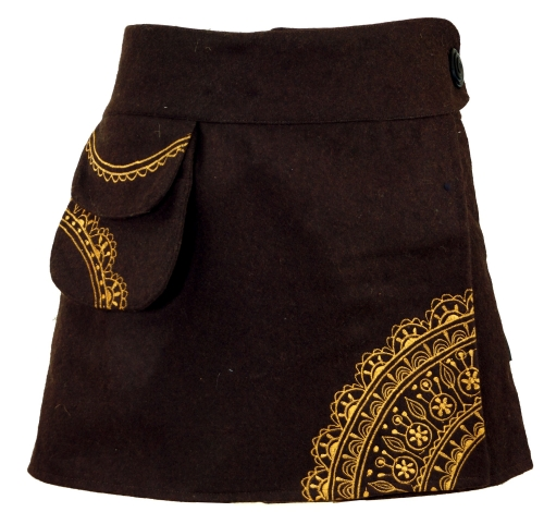 Goa wrap skirt, embroidered cacheur of wool felt - coffee