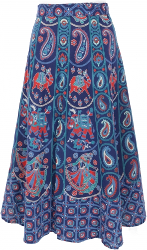Long Boho wrap skirt, ethno flamenco skirt with elephant motif - indigo blue