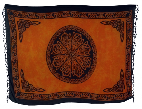 Bali sarong, wall hanging, wrap skirt, sarong dress - Celtic orange - 160x100 cm