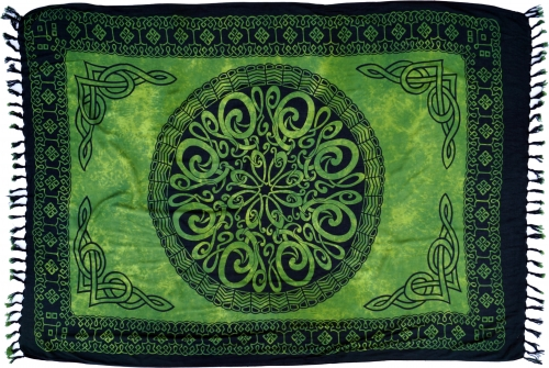 Bali sarong, wall hanging, wrap skirt, sarong dress - Celtic green - 160x100 cm