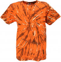Mens Batik Short Sleeve Tie Dye Shirt - Orange