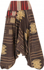 Harem pants with wide woven waistband and fringe pocket, Ikat Tha..