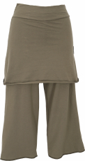 3/4 Yoga pants with skirt, loose casual pants - olive green