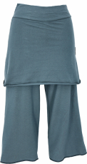 3/4 Yoga pants with skirt, loose casual pants - dove blue