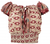 Blouse top Boho chic, hippie blouse - ikat red