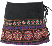 Ethno mini skirt, embroidered boho skirt, hip flatterer - black/r..