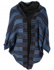 Cocoon cardigan, open jacket in oversized form - navy blue
