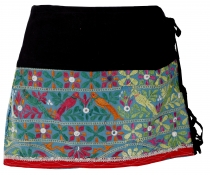 Ethno mini skirt, embroidered boho skirt, hip flatterer - black/m..