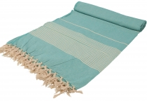Soft woven double bedspread `Kerala` cotton with fringes - green