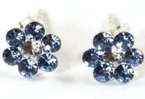 Stud earrings Zirconia, small flower earrings in the colour of th..