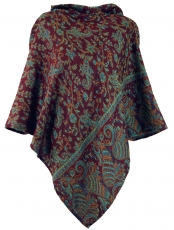 Poncho with hood, Goa Hippie, Boho Poncho - wine