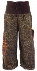 Wide harem pants with wide waistband and mandala embroidery - cho..