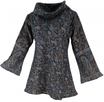 Fluffy tunic Boho chic, shawl collar tunic - night blue