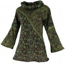 Fluffy tunic Boho chic, shawl collar tunic - green