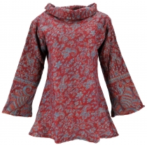 Fluffy tunic Boho chic, shawl collar tunic - bordeaux red