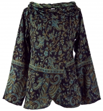 Cape, Wrap jacket Boho chic - black/blue