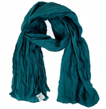 Indian cotton scarf, scarf, Krinkel scarf - petrol