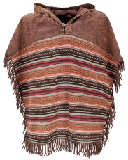 Andean poncho with hood and fringes, boho, ethno poncho - brown