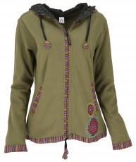 Nepal ethno jacket, embroidered jacket - olive green