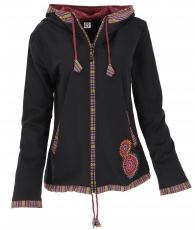 Nepal ethno jacket, embroidered jacket - black/red