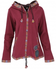 Nepal ethnic jacket, embroidered jacket - burgundy