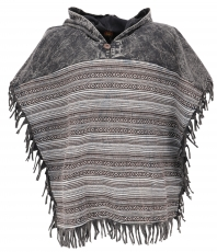 Andean poncho with hood and fringes, Boho, Ethno poncho - black