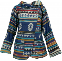 Cape, Boho wrap jacket Inca pattern - blue/multicoloured