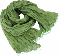 Indian cotton scarf, light scarf with gold print - olive