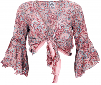 short top, boho blouse top, wrap top, wrap blouse - pink
