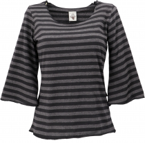 Cotton shirt with trumpet sleeves - striped/black