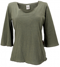 Cotton shirt with trumpet sleeves - olive