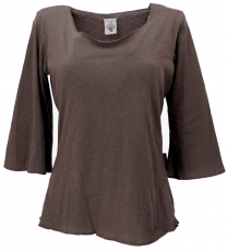 Cotton shirt with trumpet sleeves - brown