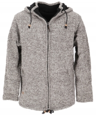 Wool jacket from Nepal, warm lined cardigan - grey melliert