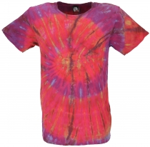 Batik T-Shirt, Men Short Sleeve Tie Dye Shirt - pink