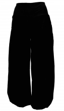 Wide corduroy harem pants - black