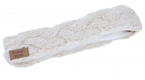 Plaited wool-knit headband, knitted ear warmer - off-white