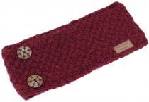 Woollen-knitted browband with pretty snowflake buttons, hand-knit..