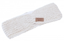 Crossed wool-knitted headband, knitted ear warmer - off-white
