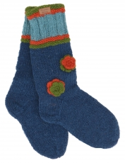 Hand knitted sheep wool socks with flowers, house socks, Nepal so..