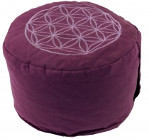 Embroidered meditation cushion with spelt filling - flower of lif..