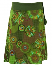 Embroidered knee length skirt, boho chic, retro mandala - olive