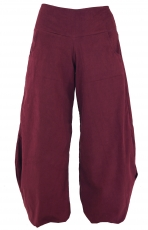 Wide corduroy harem pants - wine-red