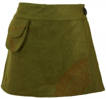 Goa wrap skirt, embroidered cacheur of wool felt - green