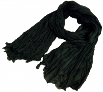 Indian cotton scarf, scarf, crinkle scarf - black