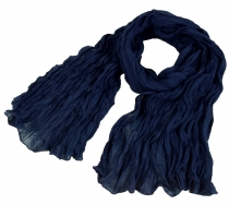 Indian cotton scarf, scarf, Krinkel scarf - night blue