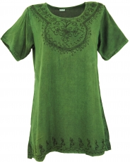 Embroidered indian hippie top, boho-chic blouse - green