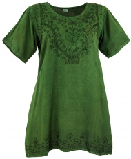 Embroidered indian hippie top, boho-chic blouse - dark green