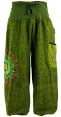 Wide harem pants with wide waistband and mandala embroidery - oli..