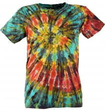 Batik T-Shirt, Men Short Sleeve Tie Dye Shirt - red/blue spiral