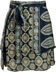 Short wrap skirt, Boho step skirt - black